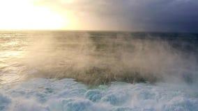 Waves breaking on rocks in Iceland stock footage