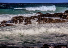 Waves breaking at rocks of the Indian Ocean at the Wild Coast of Stock Photos