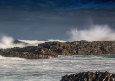 Waves breaking at rocks of the Indian Ocean at the Wild Coast of Royalty Free Stock Photos