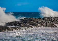 Waves breaking at rocks of the Indian Ocean at the Wild Coast of Royalty Free Stock Images