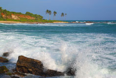Waves breaking on rocks of tropical coast Royalty Free Stock Photo