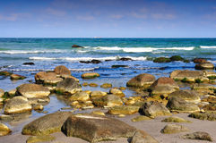 Waves breaking on rocky beach. Cape Arkona, Wittow Peninsula, Jasmund National Park, Ruegen, Germany Stock Image