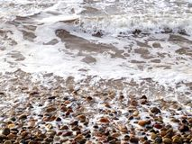 Waves breaking on rocky beach. Scenic view of waves breaking on rocky beach Royalty Free Stock Photo