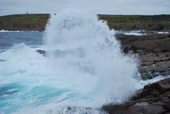 Waves breaking on rocky coast Royalty Free Stock Image