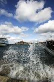 Waves breaking in Rovinj port Stock Photography