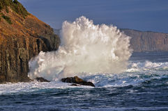 Waves breaking on sea cliffs Royalty Free Stock Images