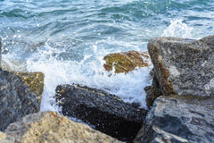 Waves breaking on the shore with sea foam. The waves breaking on the shore with sea foam Stock Photos