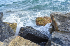 Waves breaking on the shore with sea foam. The waves breaking on the shore with sea foam Royalty Free Stock Photography