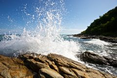 The waves breaking on a stony beach Royalty Free Stock Image