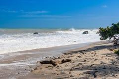 Waves breaking on a stony beach Stock Photo