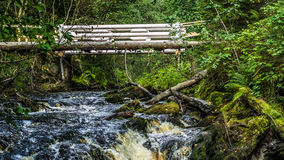 Waves and bridge. Waves from a fallen tree and waterfall Stock Photography
