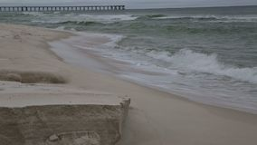 The waves broke over the beach stock footage