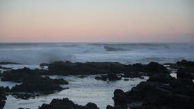 Waves Burst Through Thors Well. Along Oregon coast stock footage