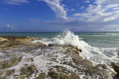 Waves carsh along the rocky Jamaican shoreline Stock Photos