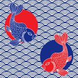 Waves and catfish symbols. Japanese ornament. Red, blue and white colors. Vector art Royalty Free Stock Photo