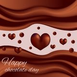 Waves of chocolate chocolate world day. Waves of chocolate, drops in the form of heart vector illustration