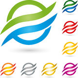 Waves and circle, colored, multimedia and services logo Stock Photography
