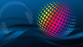 Waves and circles, music and sound, technology background vector illustration