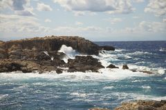 Waves on cliff at San Nicola island. Archipelago of Tremiti south Italy. royalty free stock photo