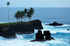 Waves and cliffs of a coast of sao tome and principe. Details of a coast of sao tome and principe island composed of cliffs covered by several palms treas. White Royalty Free Stock Photos