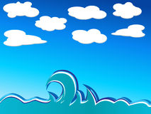 Waves and clouds. Illustration ocean waves. Vector illustration Stock Photos