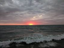Tumultuous dawn on Lake Michigan royalty free stock image