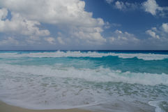 Waves on the coast of the Caribbean Sea. Mexico. Riviera Maya Royalty Free Stock Images