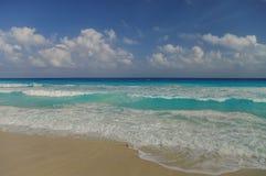 Waves on the coast of the Caribbean Sea, Mexico. Riviera Maya Royalty Free Stock Photography