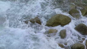 Waves on the coastal in Spain stock footage