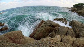 Waves on the coastal in Spain stock video footage