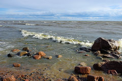 Waves and coastal surf on the sandy beach Royalty Free Stock Photos