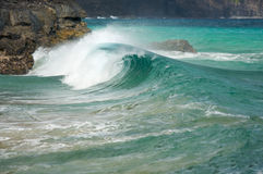 Waves on Coastline of Kauai's Na Pali royalty free stock photo