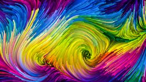 Waves of Colorful Paint. Color In Motion series. Artistic background made of liquid paint pattern for use with projects on design, creativity and imagination to Royalty Free Stock Photos