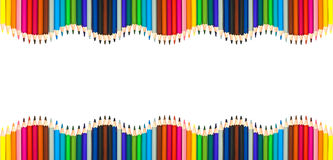 Waves of colorful wooden pencils isolated on white, blank frame back to school, art and creativity concept