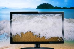 Waves coming out of the led television Royalty Free Stock Photo
