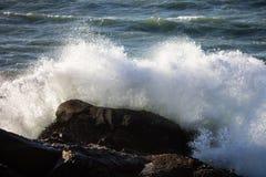 Waves Crash on the California Coastline Stock Photography