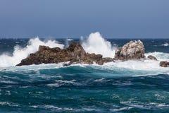 Waves Crash on Monterey Coastline Royalty Free Stock Photo