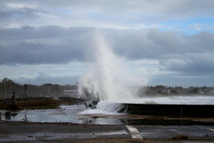 Waves crash seawall from Superstorm Sandy Royalty Free Stock Photo