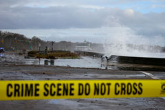 Waves crash seawall from Superstorm Sandy royalty free stock image