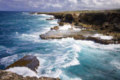 Waves crashing. On cliffs in Barbados Royalty Free Stock Photography