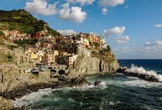 Vernazza harbor washed over by the waves. royalty free stock photo