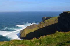 Waves Crashing Along the Cliff`s of Moher in Ireland Royalty Free Stock Image