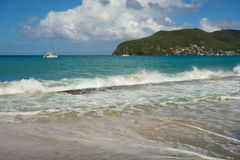 Waves crashing ashore at lower bay, bequia Royalty Free Stock Photo