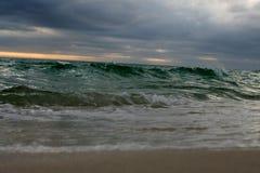 Waves crashing ashore on storm beach. Ocean, sea, storms stock photos