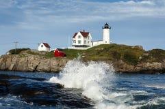 Waves Crashing at Cape Neddick Light Stock Images