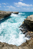 Waves Crashing on the Coastline Devil's Bridge Antigua Royalty Free Stock Images