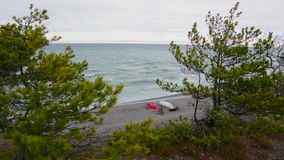 Waves crashing into a limestone beach on the island of Gotland in Sweden stock footage