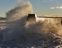 Waves crashing at Lossiemouth. Royalty Free Stock Photos