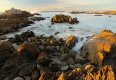 Waves crashing near 17 mile drive and Monterey, California. Waves background on Asilomar State Marine Reserve, Pacific Grove near Monterey and Big Sur Royalty Free Stock Photos