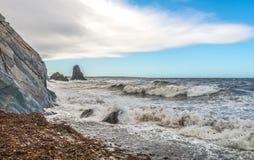 Waves crashing ocean shore Stock Photography